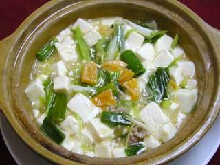 上海大赫咸旦王豆腐【上海ネギと豆腐と黄身のうま煮】